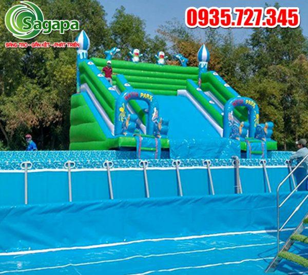 Nhà phao trượt nước 6mx7m cao 6m